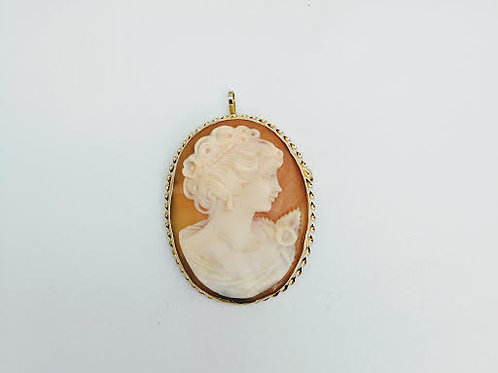 14k Yellow Gold Shell Cameo Pendant/ Brooch/Pin
