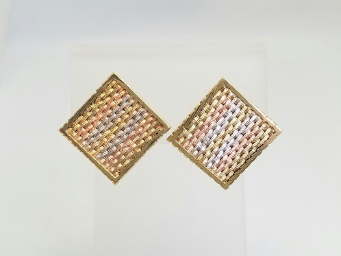 10k Rose White & Yellow Gold Earrings