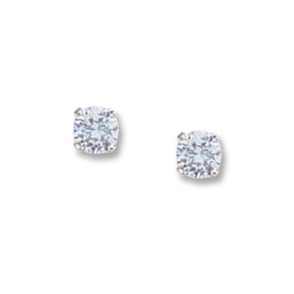 14k White Gold & 4mm Blue Topaz Stud Earrings