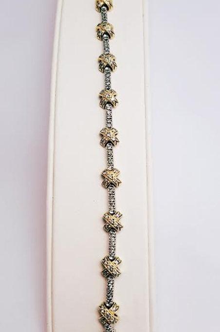 14k White & Yellow Gold & Diamond Bracelet