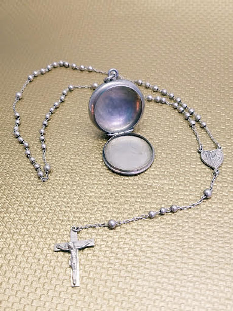 Sterling Silver Locket with Sterling Silver Rosary