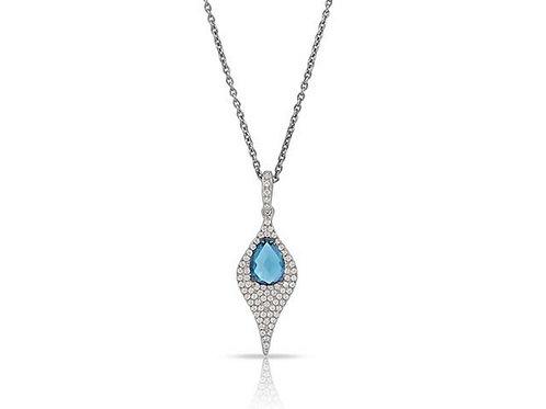 14k White Gold,Blue Topaz & Diamond Pendant with Gold Chain