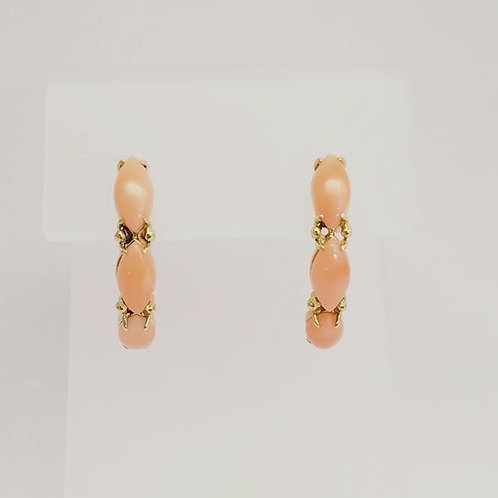 14k Yellow Gold & Pink Coral Earrings