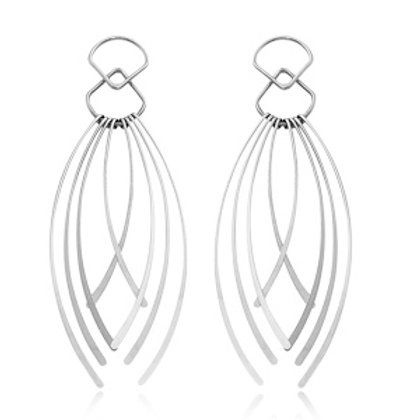 Sterling Silver Multi Strand Dangle Earrings