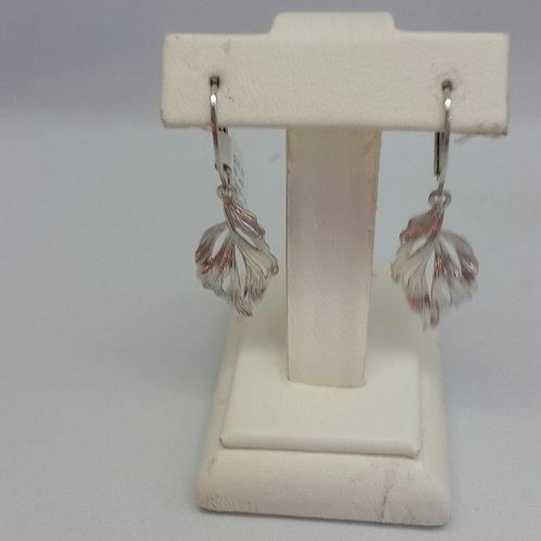 Sterling Silver Leaf Shaped Dangle Earrings