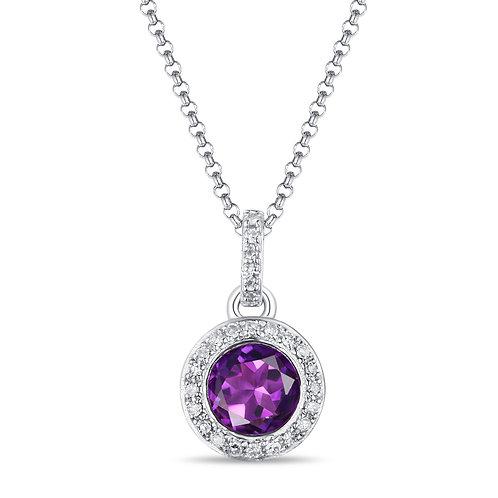 14k White Gold, Amethyst & Diamond Pendant with Chain