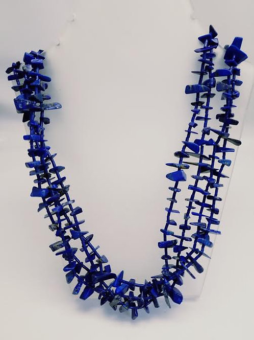 Sterling Silver & Lapis Multi Strand Necklace