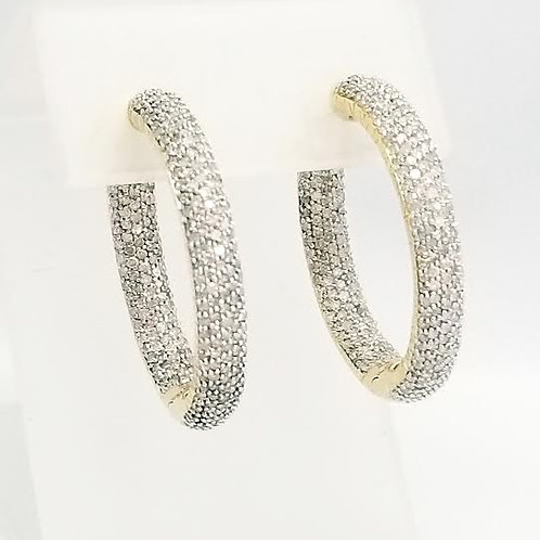 14k Yellow Gold & Diamond Hoop Earrings