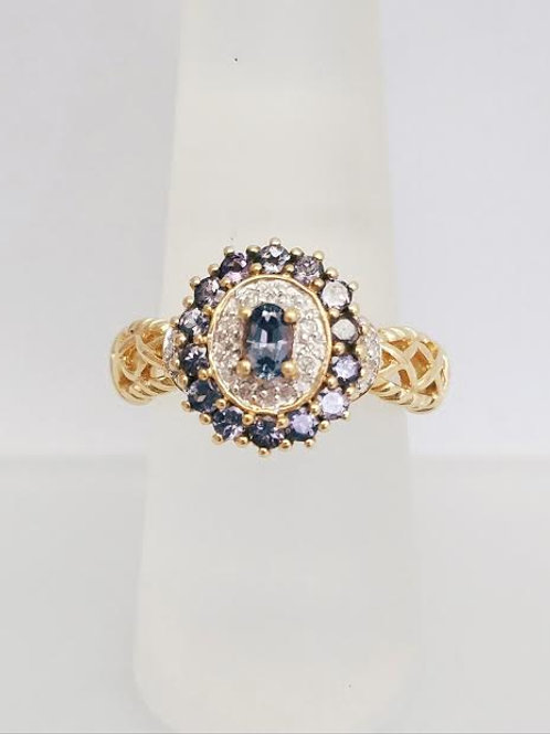 14k Yellow Gold Synthetic Alexandrite & Diamond Ring