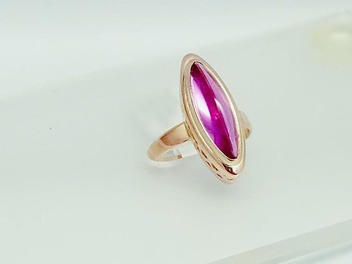 14k Yellow Gold Synthetic Pink Sapphire