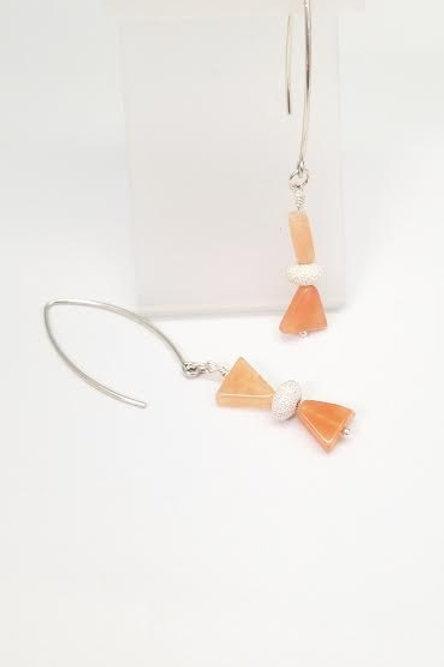 Sterling Silver & Carnelian Custom Designed Earrings