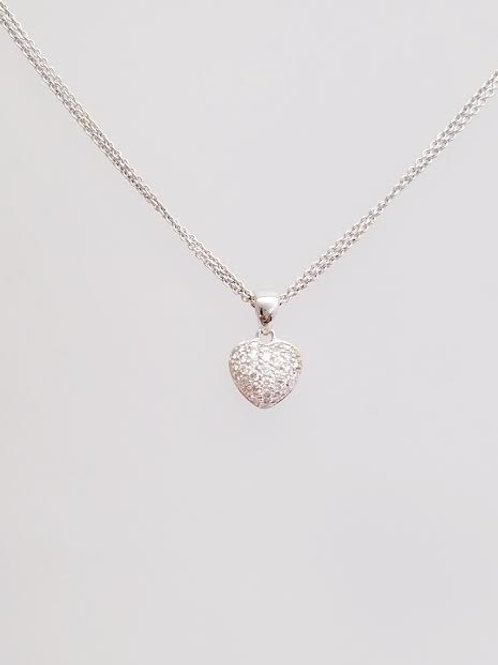 18k White Gold & Diamond Heart Pendant with Gold Chain
