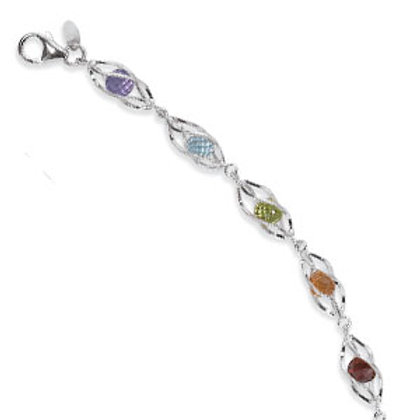 Sterling Silver Multi-Colored Stone Bracelet