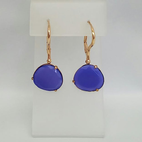Rose Gold Plated & Blue Agate Dangle Earrings