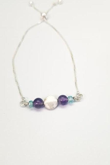 Sterling Silver, Amethyst & Blue Zircon Custom Designed Bracelet