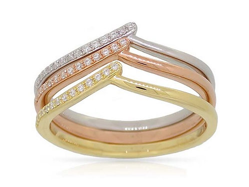14k White, Yellow, Rose Gold & Diamond Triple Ring