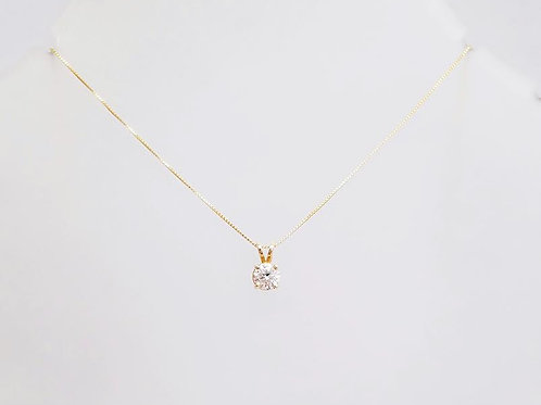 14k Yellow Gold & Diamond Solitaire Pendant