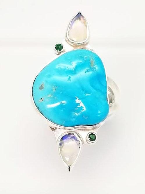 Sterling Silver Turquoise, Moon Stone & Tsavorite Garnet Cutom Designed Ring