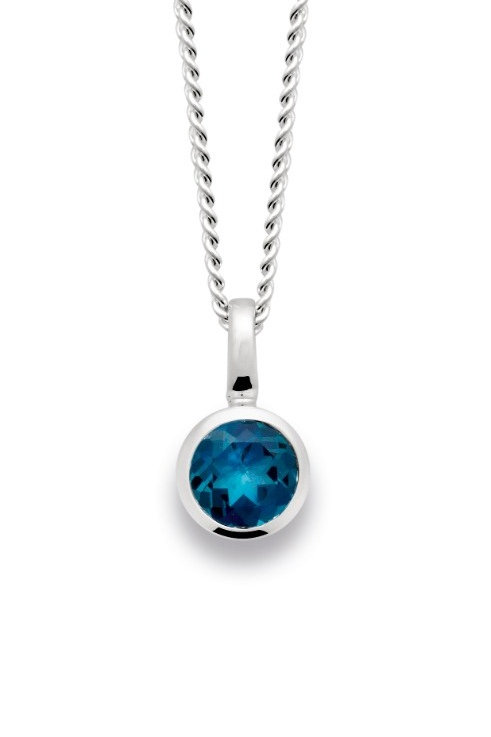 Sterling Silver & Blue Topaz Pendant (chains sold separately)