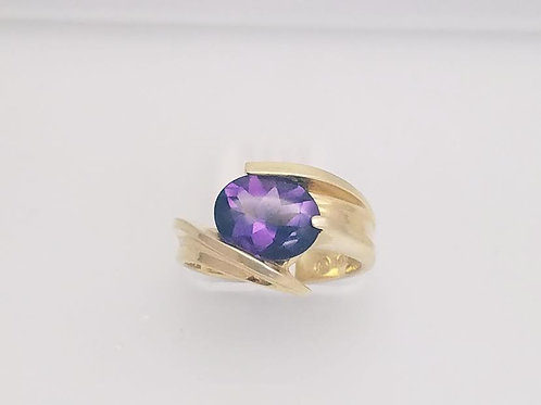 14k Yellow Gold & Amethyst Ring