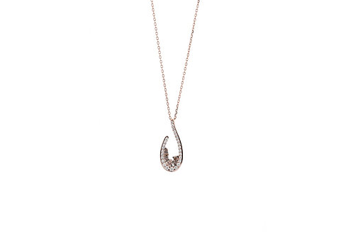 14k Rose Gold with White & Brown Diamonds Pendant