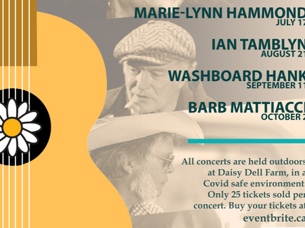Saturday Night at Daisy Dell Farm in Perth ON with Ian Tamblyn August 21 at 7pm