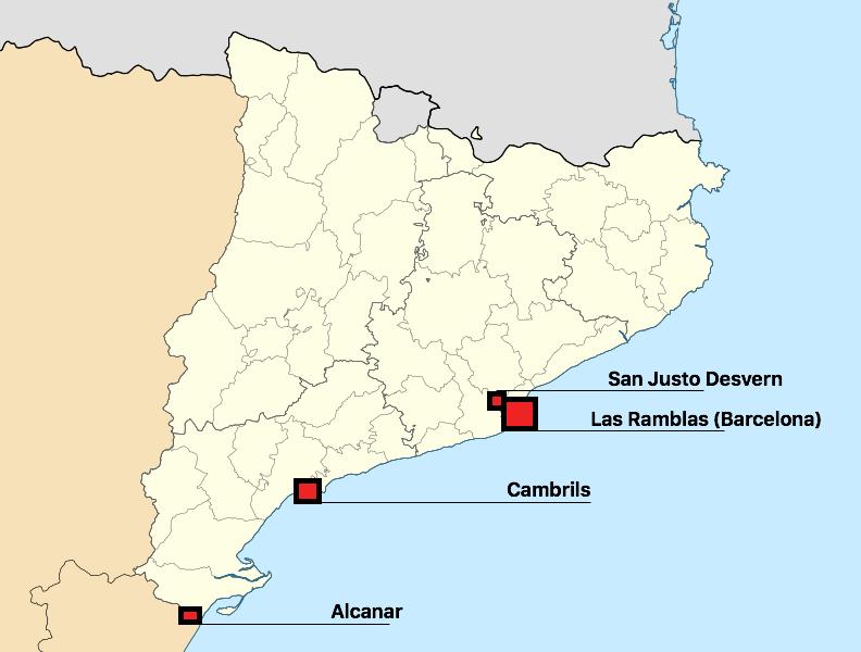 Mapa de Cataluña señalando los atentados de 2017