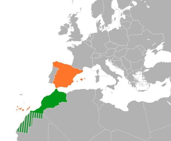Mapa de España y Marruecos