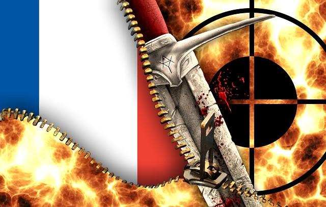 Bandera de Francia con un puñal ensangrentado superpuesto y una mirilla de arma