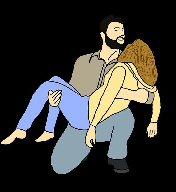 Dibujo de un hombre que recoge en brazos a una mujer muerta