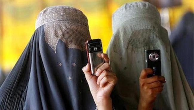 Mujeres musulmanas con velo integral
