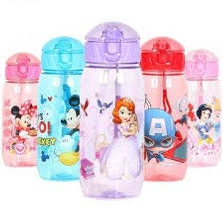 בקבוק מים קשיח – עם קשית – לילדים עם דמויות של דיסני