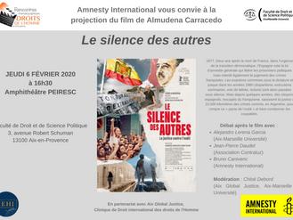 """Aix Global Justice et Amnesty International vous convient à la projection du film """"Le silence d"""