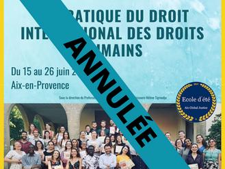 Annulation de l'École d'Été 2020