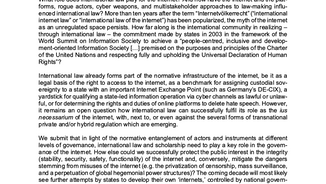 Appel à contribution - International Law and the Internet