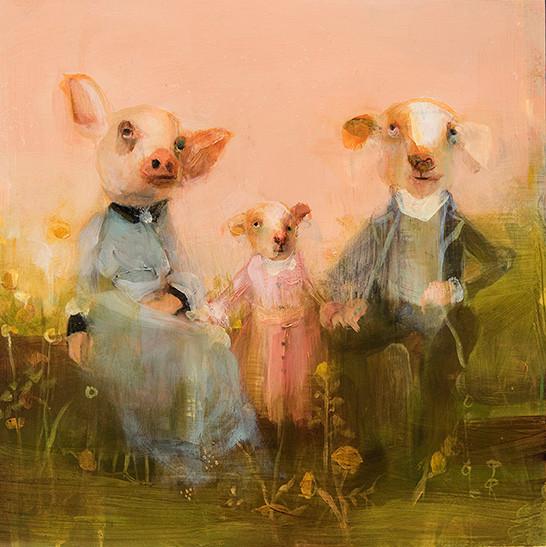 Blended Family Pink, Oil on Panel