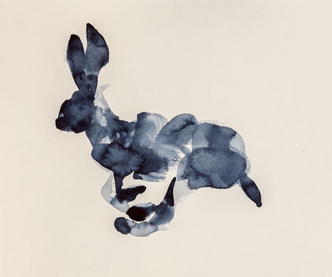 Running Rabbit, Watercolor on Paper