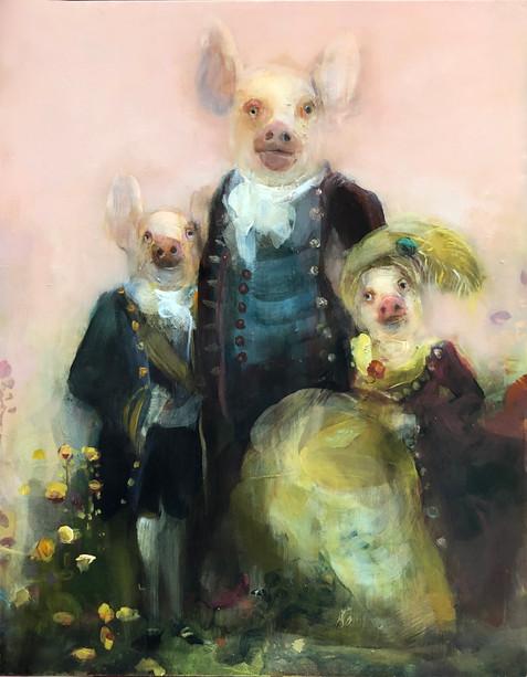 Three Pigs, Oil on Panel