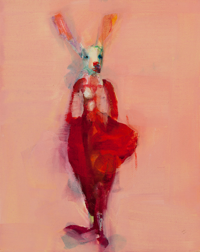 Pink Clown, Oil on Canvas