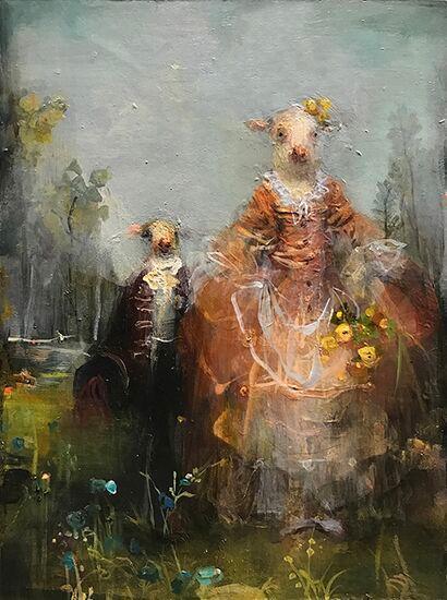 Siblings, Oil on Panel