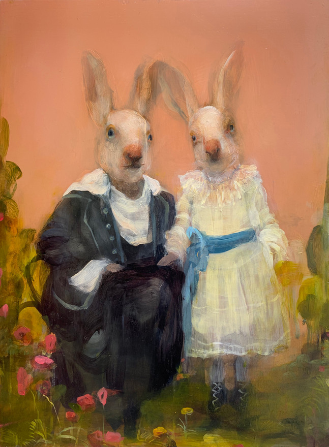 Rabbits Pink, Oil on Panel