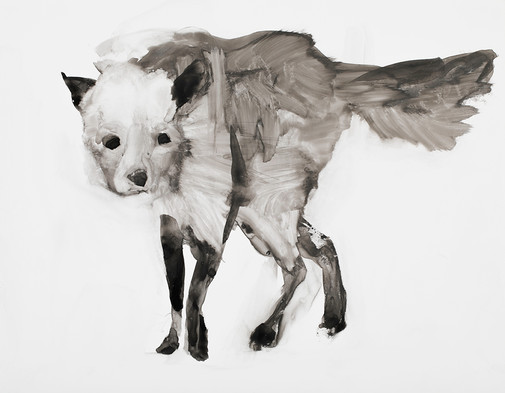 Fox, Ink on Vellum