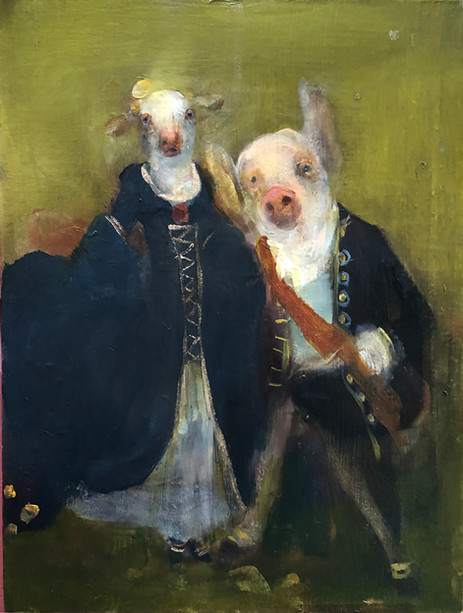 Lamb and Pig, Oil on Panel
