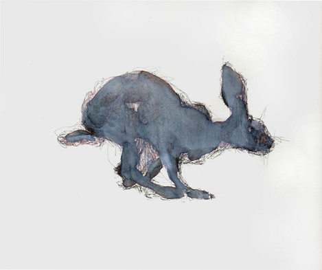 Running Rabbit, Mixed Media on Paper