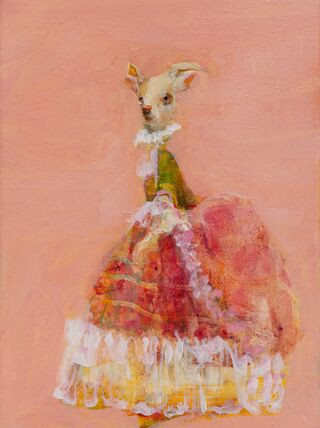 Goat in Red and Green, Oil on Panel