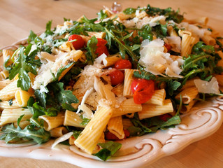 Freshly Roasted Tomato Pasta Salad with Arugula and Parmesan Cheese