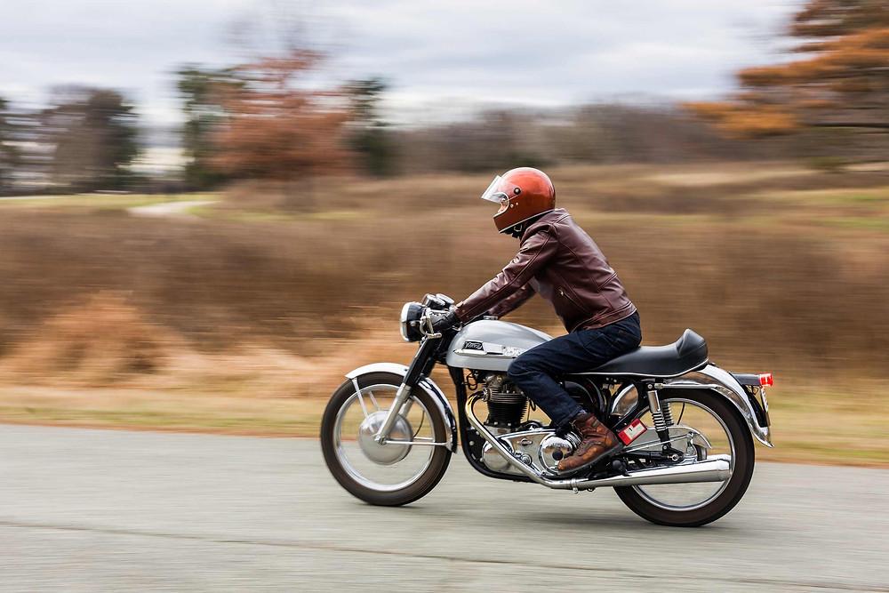 Norton 650ss, Motorcycle, Vintage Motorcycle, Washington DC, Leather Jacket, VKTRE, Biltwell, Motorcycle Helmet, DUNN LEWIS,