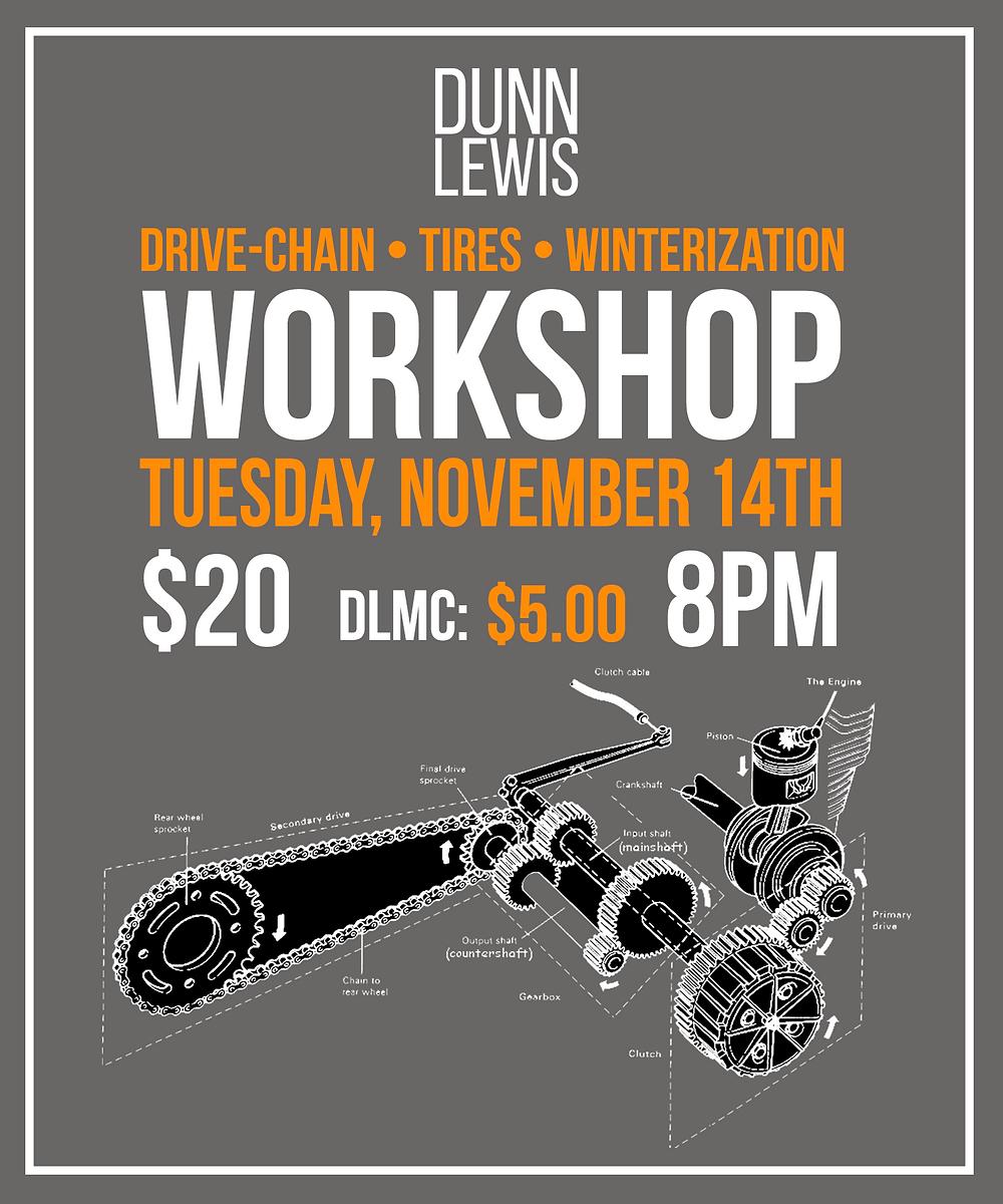 DUNN LEWIS, Motorcycle Workshop, Motorcycle Education, Mechanic, DIY Garage, Workspace, Maker space, Washington DC