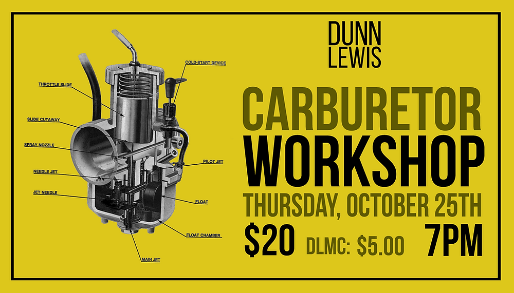 Motorcycle Carburetor, DIY, Education, Makerspace, Motorcycle Shop, DUNN LEWIS, Washington DC, Custom Motorcycles