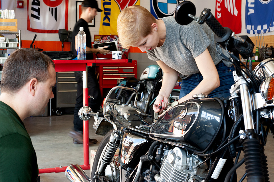 DUNN LEWIS, DIY, Motorcycle Garage, Makerspace, Washington DC, Motorcycle Shop, Yamaha, SR400, Motorcycle